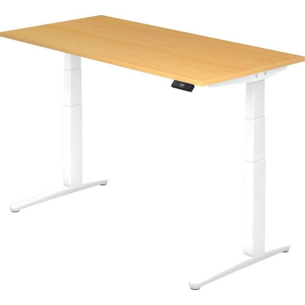 Bureau assis-debout électrique Frida / Hêtre / Longueur 160 cm / Blanc