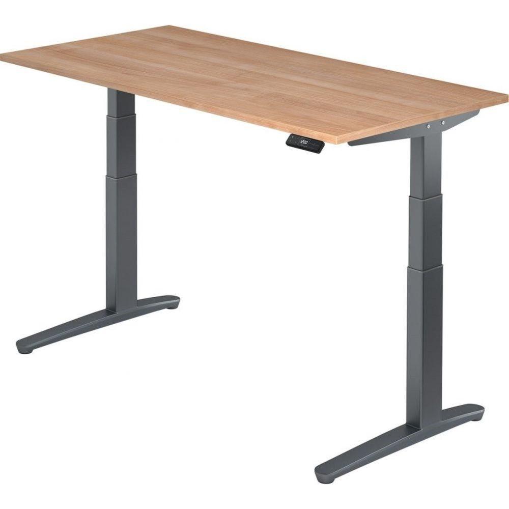 Bureau assis-debout électrique Frida / Noyer / Longueur 160 cm / Graphite