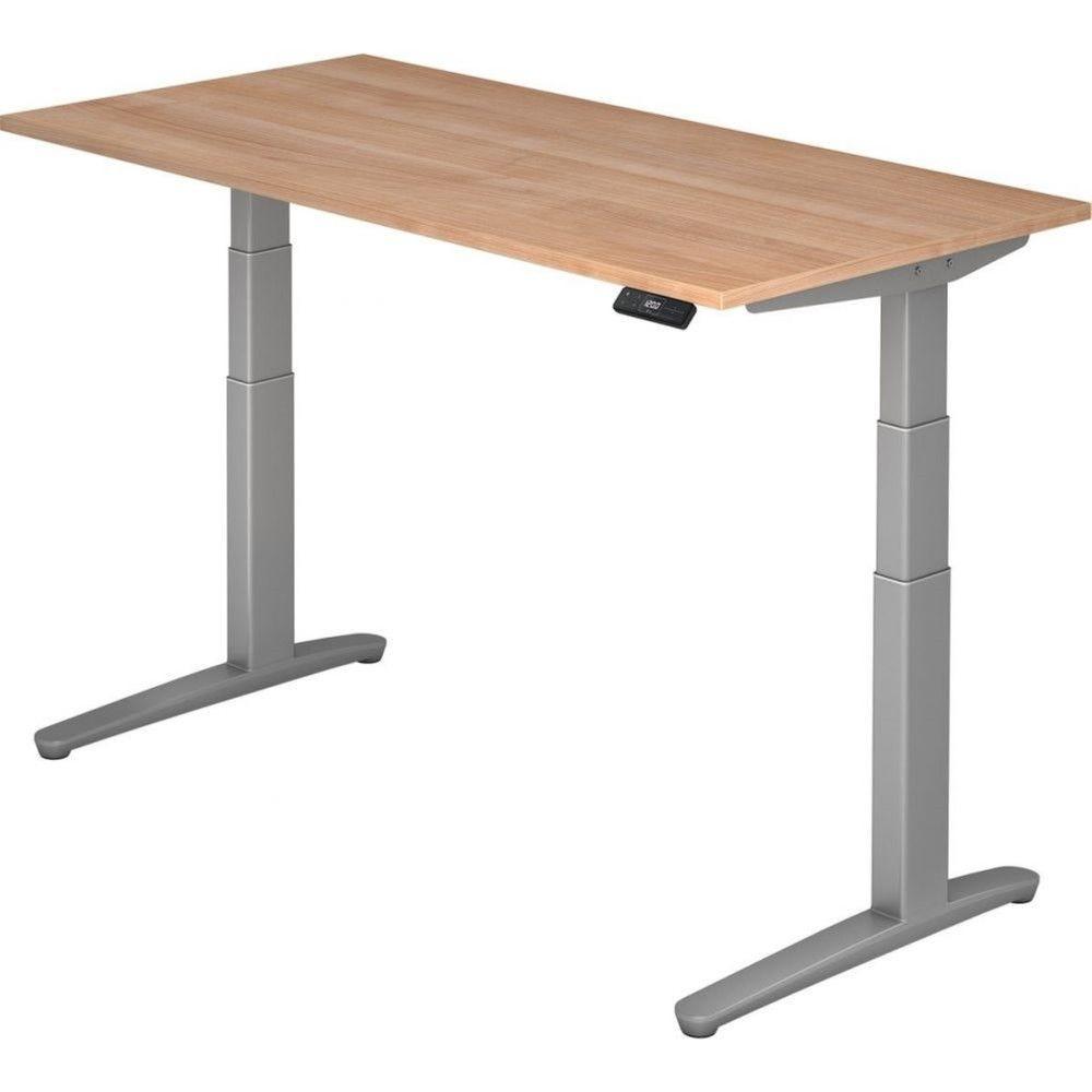 Bureau assis-debout électrique Frida / Noyer / Longueur 160 cm / Argenté