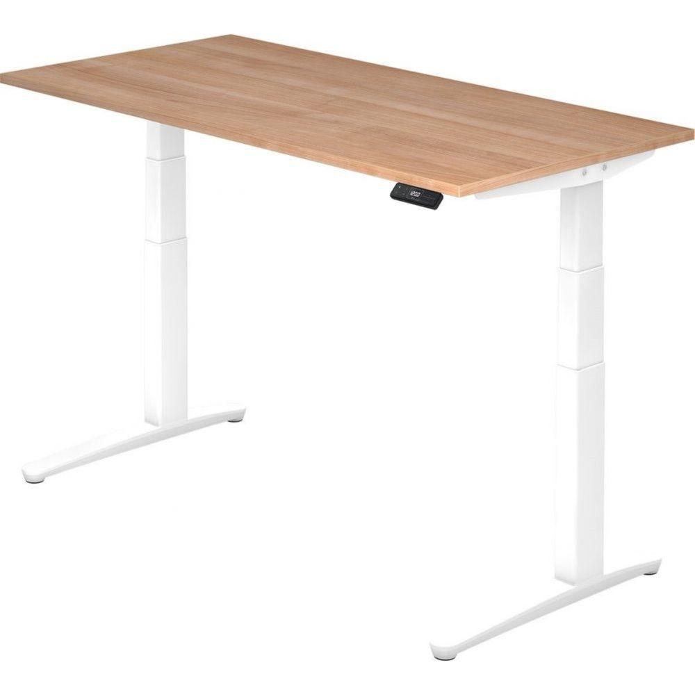 Bureau assis-debout électrique Frida / Noyer / Longueur 160 cm / Blanc
