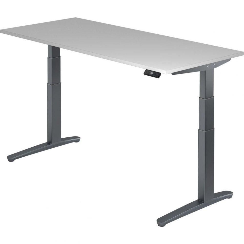 Bureau assis-debout électrique Frida / Gris / Longueur 180 cm / Graphite
