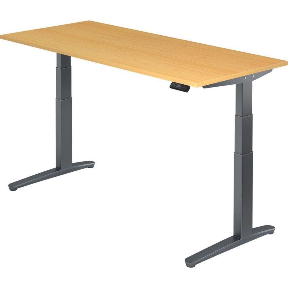 Bureau assis-debout électrique Frida / Hêtre / Longueur 180 cm / Graphite