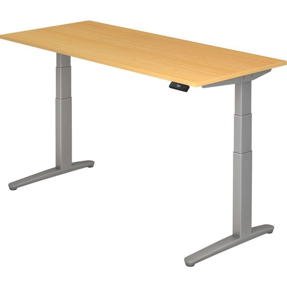 Bureau assis-debout électrique Frida / Hêtre / Longueur 180 cm / Argenté