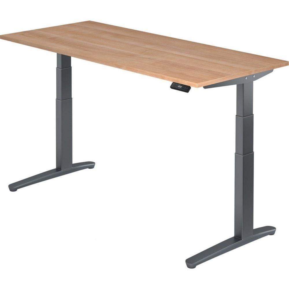 Bureau assis-debout électrique Frida / Noyer / Longueur 180 cm / Graphite
