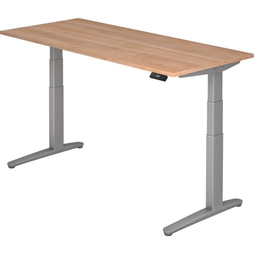 Bureau assis-debout électrique Frida / Noyer / Longueur 180 cm / Argenté