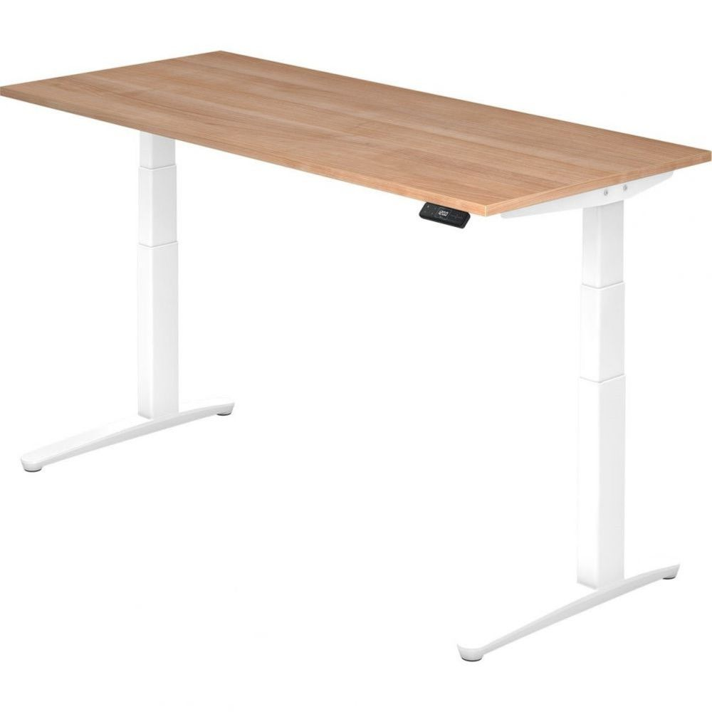 Bureau assis-debout électrique Frida / Noyer / Longueur 180 cm / Blanc