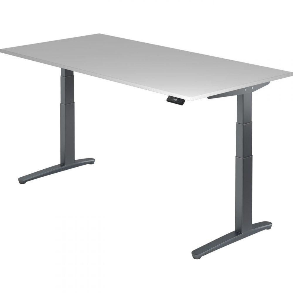 Bureau assis-debout électrique Frida / Gris / Longueur 200 cm / Graphite