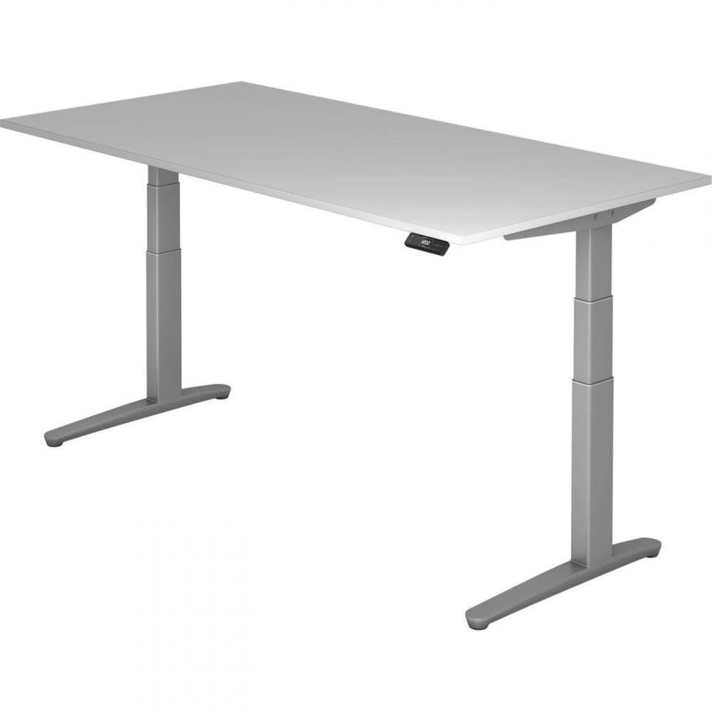 Bureau assis-debout électrique Frida / Gris / Longueur 200 cm / Argenté