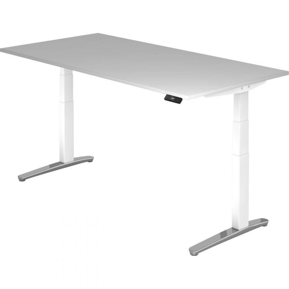 Bureau assis-debout électrique Frida Gris Longueur 200 cm Blanc Aluminium