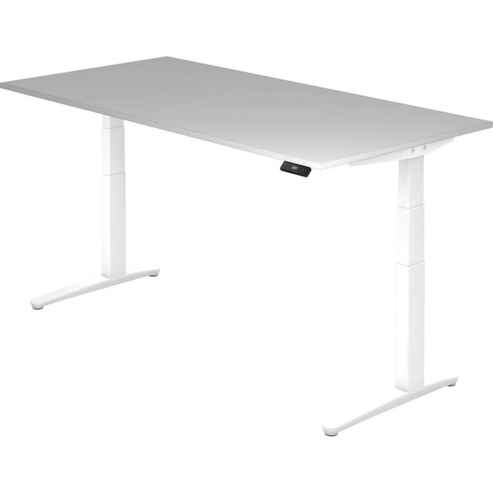 Bureau assis-debout électrique Frida / Gris / Longueur 200 cm / Blanc