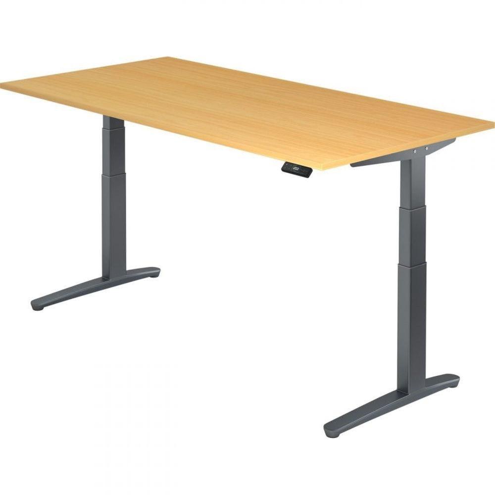 Bureau assis-debout électrique Frida / Hêtre / Longueur 200 cm / Graphite