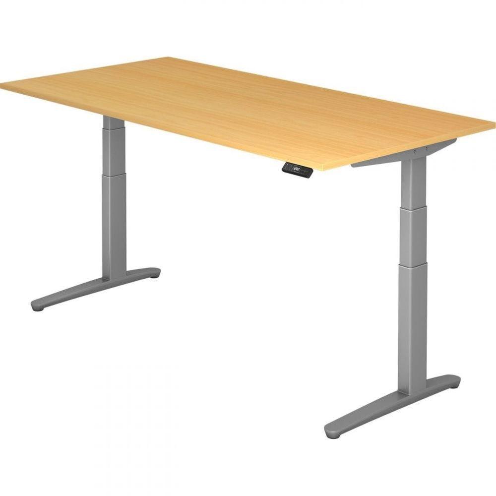 Bureau assis-debout électrique Frida / Hêtre / Longueur 200 cm / Argenté