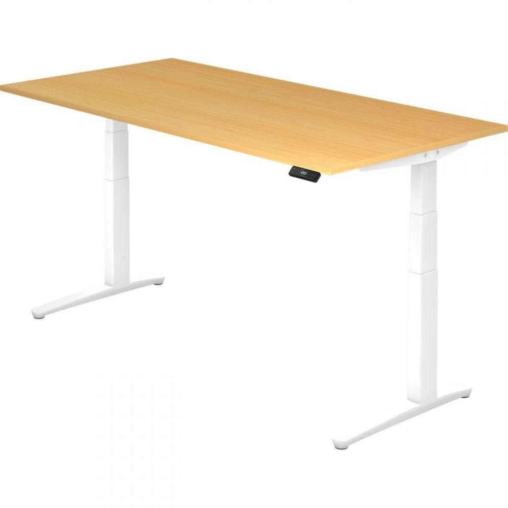 Bureau assis-debout électrique Frida / Hêtre / Longueur 200 cm / Blanc