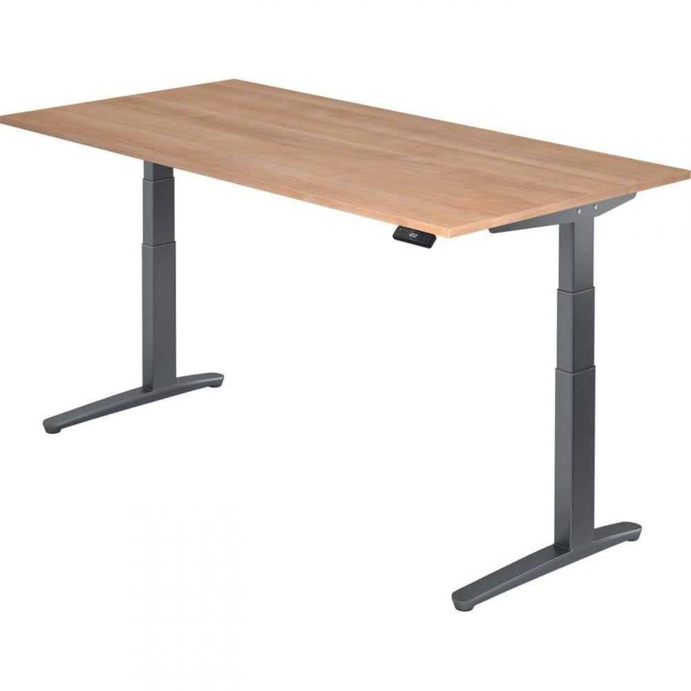 Bureau assis-debout électrique Frida / Noyer / Longueur 200 cm / Graphite