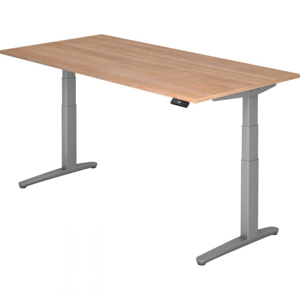 Bureau assis-debout électrique Frida / Noyer / Longueur 200 cm / Argenté