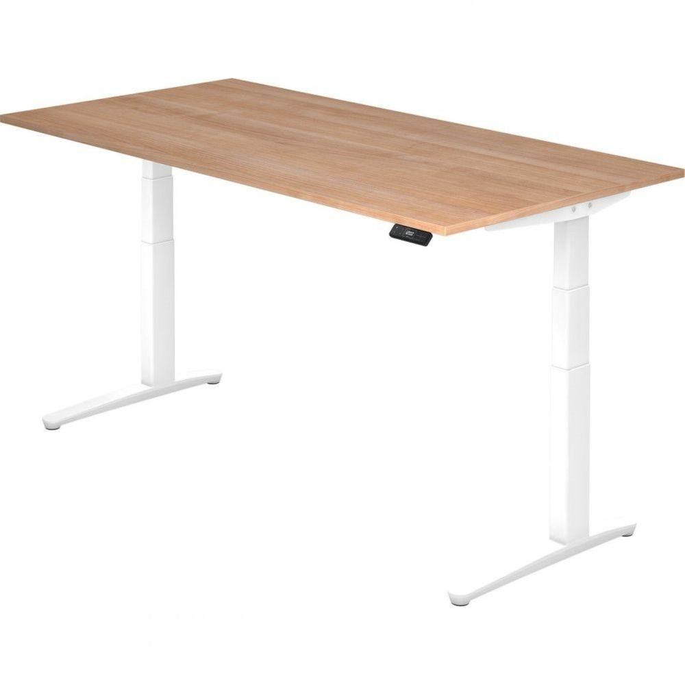 Bureau assis-debout électrique Frida / Noyer / Longueur 200 cm / Blanc