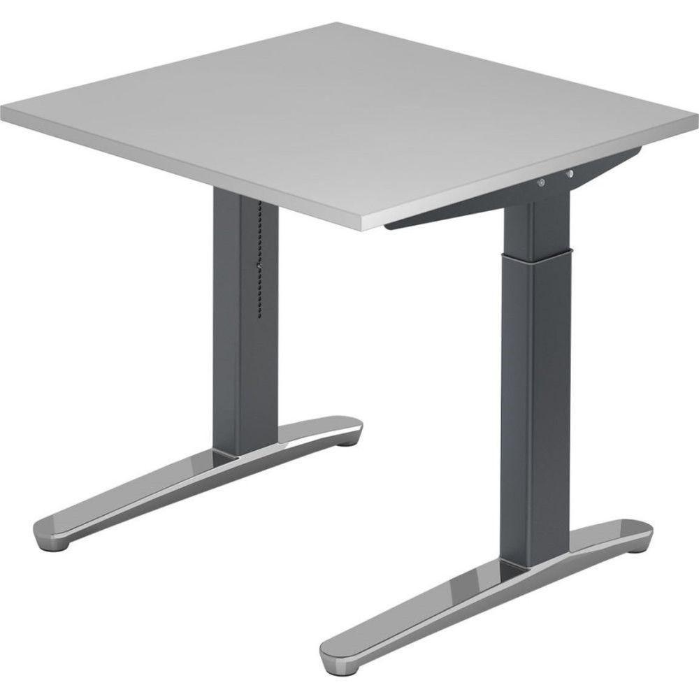 Bureau droit réglable Naomi / Hêtre / Longueur 80 cm / Graphite / Aluminium