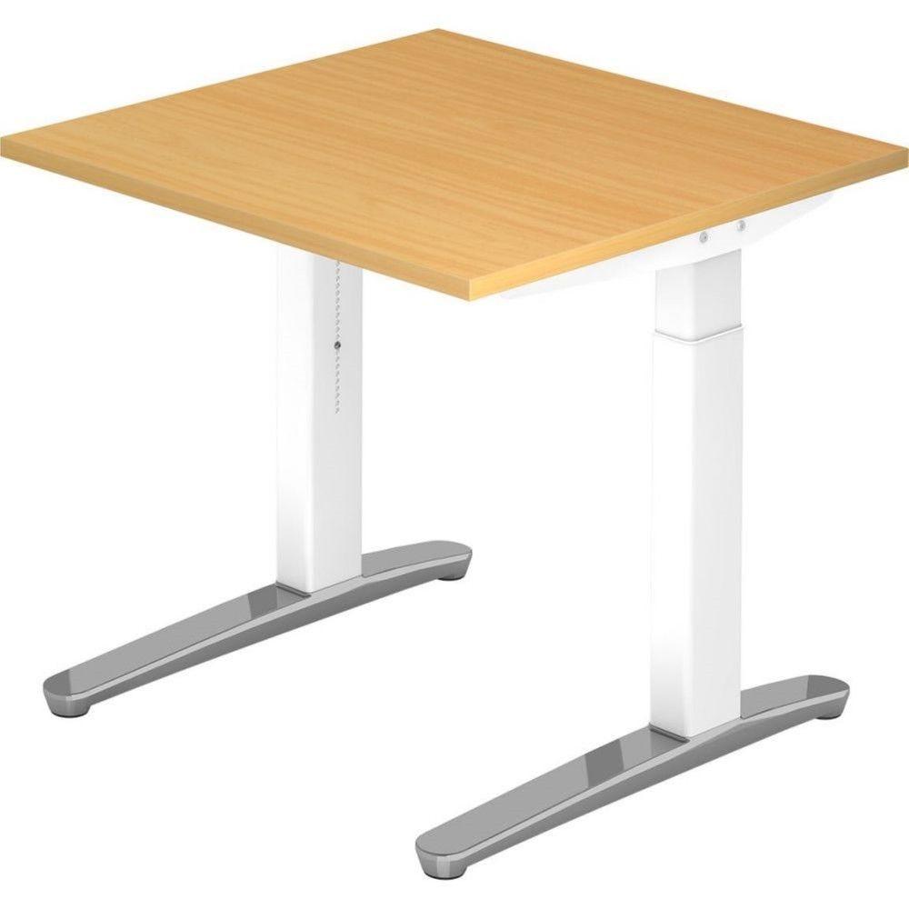 Bureau droit réglable Naomi / Hêtre / Longueur 80 cm / Blanc / Aluminium