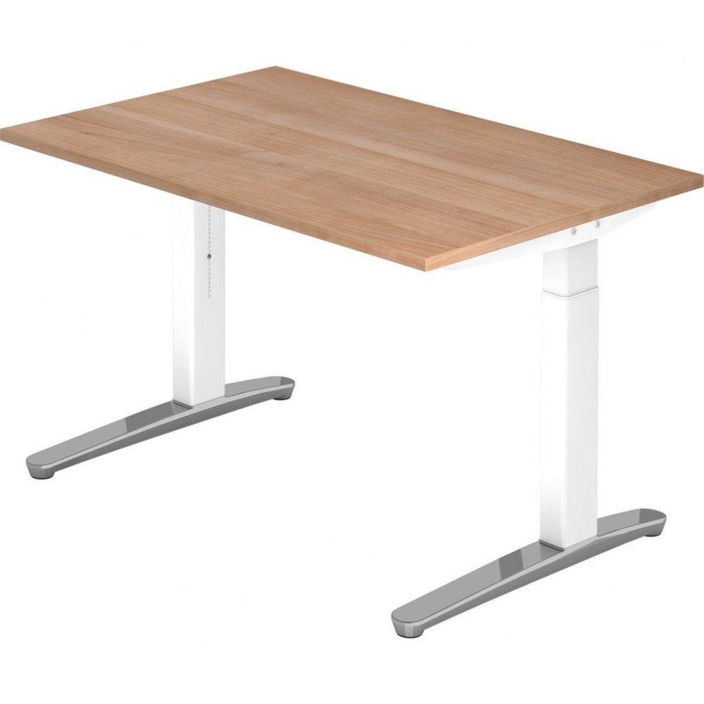 Bureau droit réglable Naomi / Noyer / Longueur 120 cm / Blanc / Aluminium