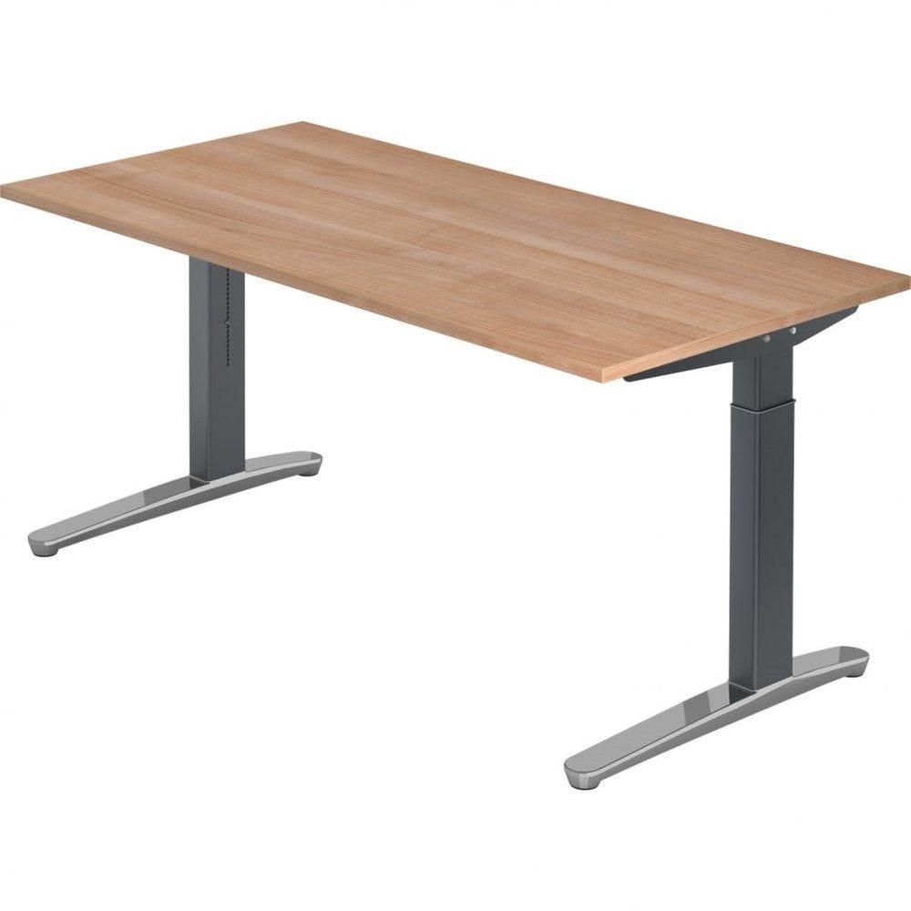 Bureau droit réglable Naomi / Noyer / Longueur 160 cm / Graphite / Aluminium