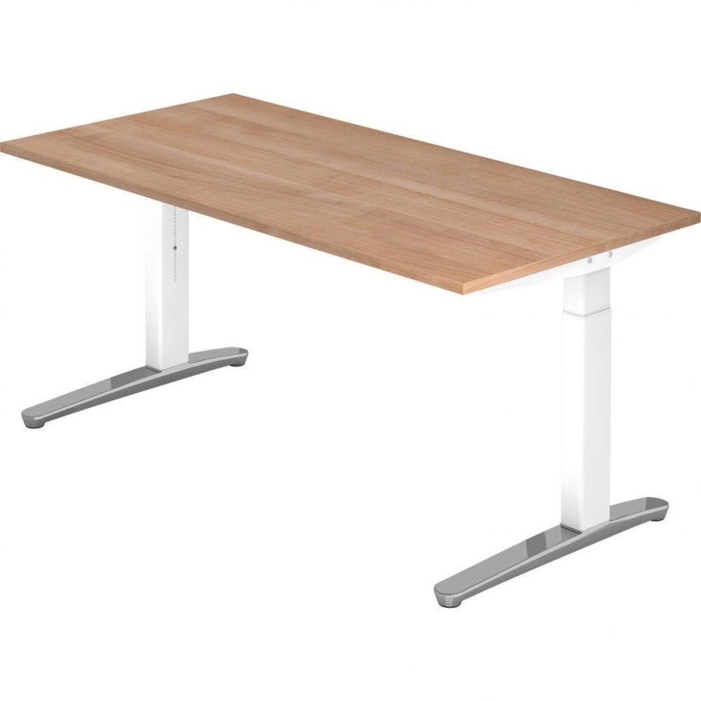 Bureau droit réglable Naomi / Noyer / Longueur 160 cm / Blanc / Aluminium