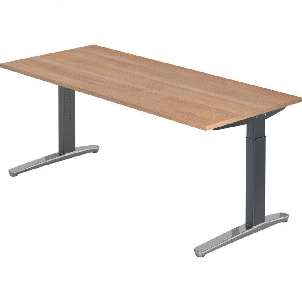 Bureau droit réglable Naomi / Noyer / Longueur 180 cm / Graphite / Aluminium