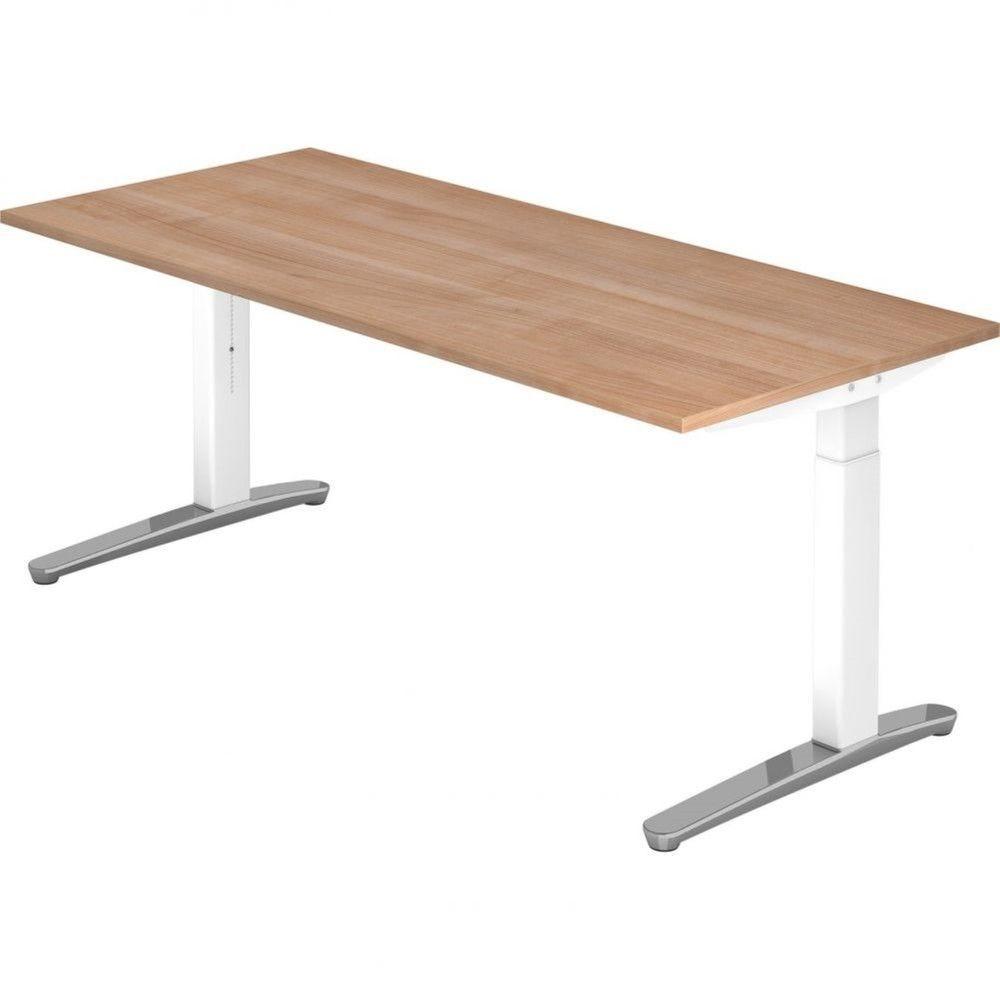 Bureau droit réglable Naomi / Noyer / Longueur 180 cm / Blanc / Aluminium