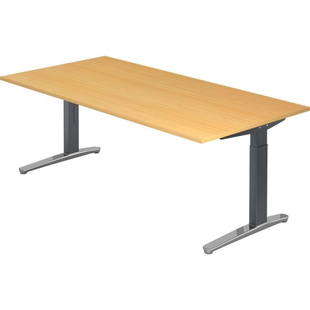 Bureau droit réglable Naomi / Hêtre / Longueur 200 cm / Graphite / Aluminium