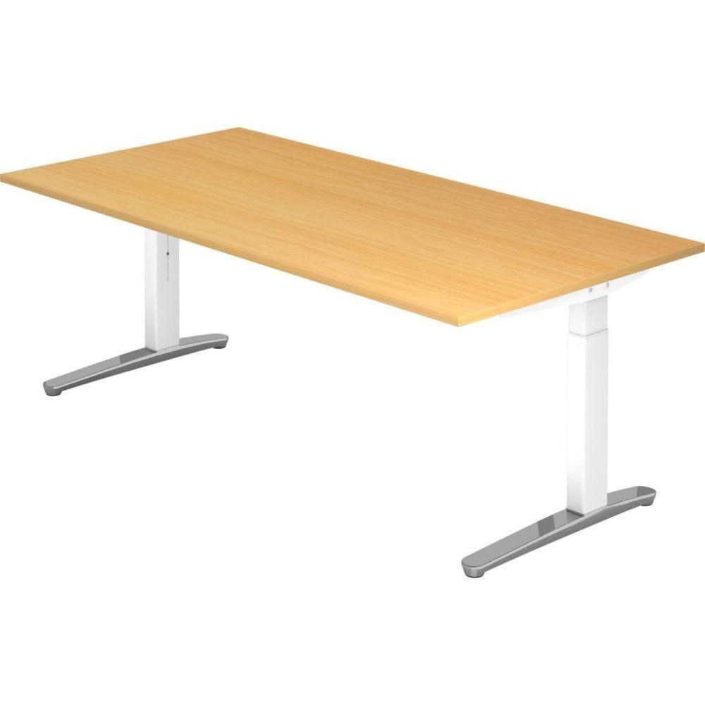 Bureau droit réglable Naomi / Hêtre / Longueur 200 cm / Blanc / Aluminium
