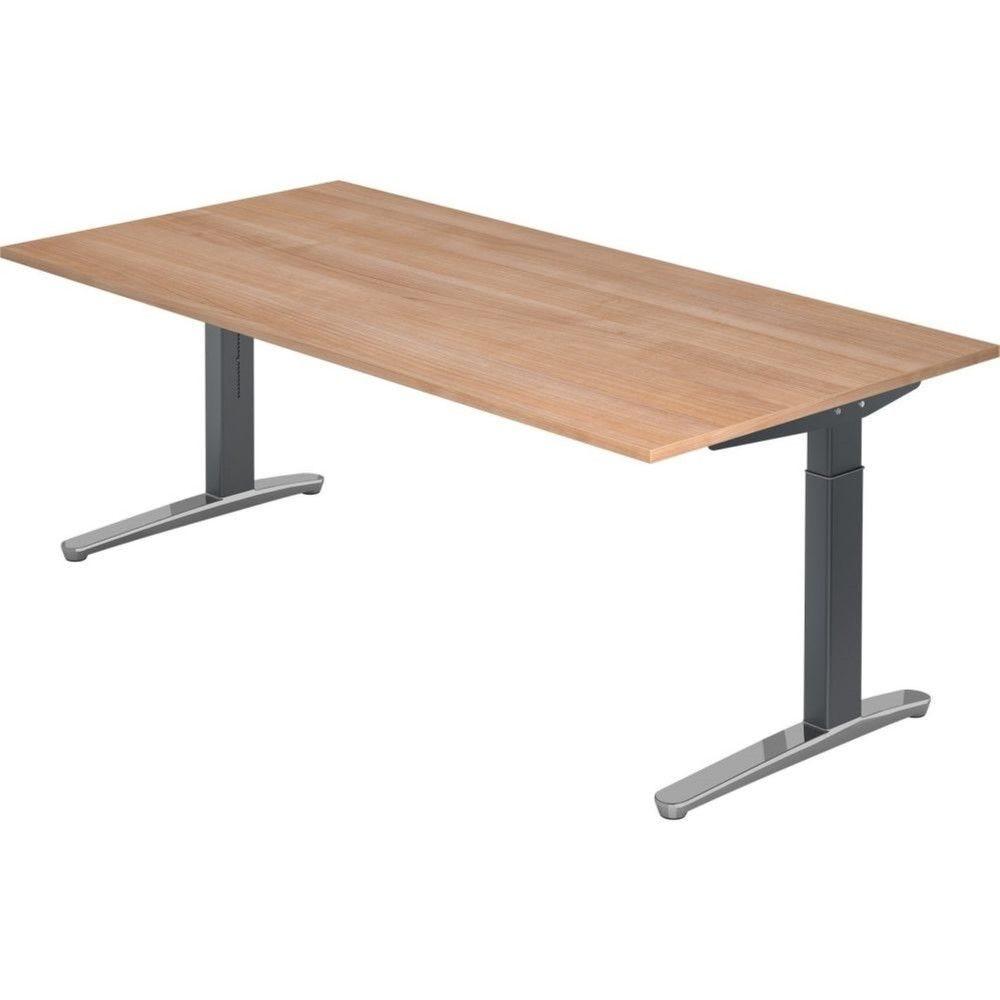 Bureau droit réglable Naomi / Noyer / Longueur 200 cm / Graphite / Aluminium