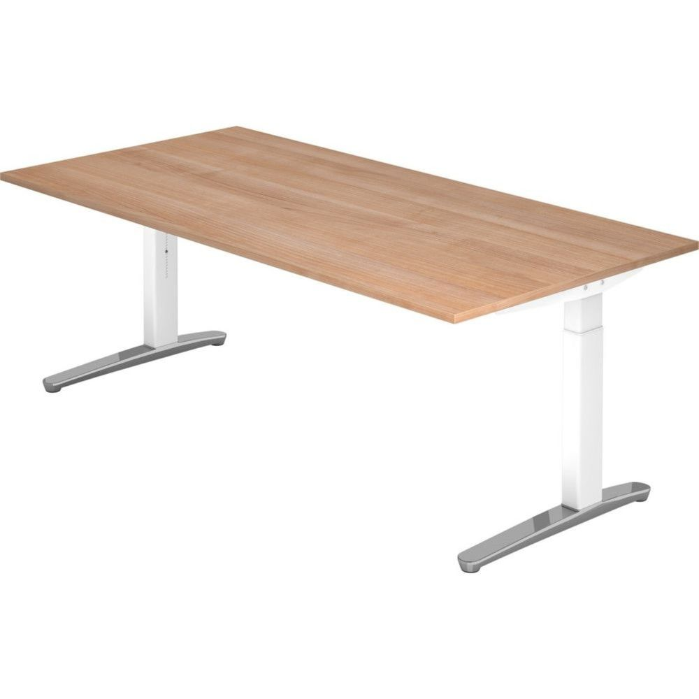 Bureau droit réglable Naomi / Noyer / Longueur 200 cm / Blanc / Aluminium