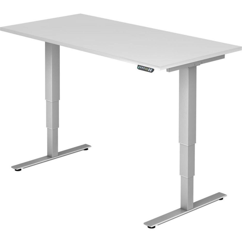 Bureau assis-debout électrique Barbara II / Blanc / Longueur 160 cm