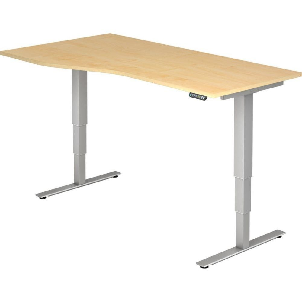Bureau assis-debout électrique Barbara II / Erable / Longueur 180 cm avec angle
