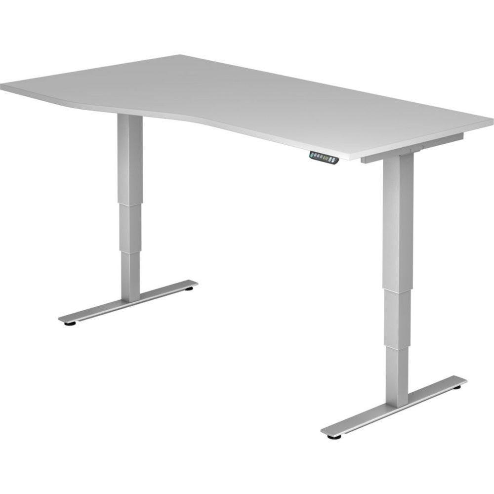 Bureau assis-debout électrique Barbara II / Gris / Longueur 180 cm avec angle