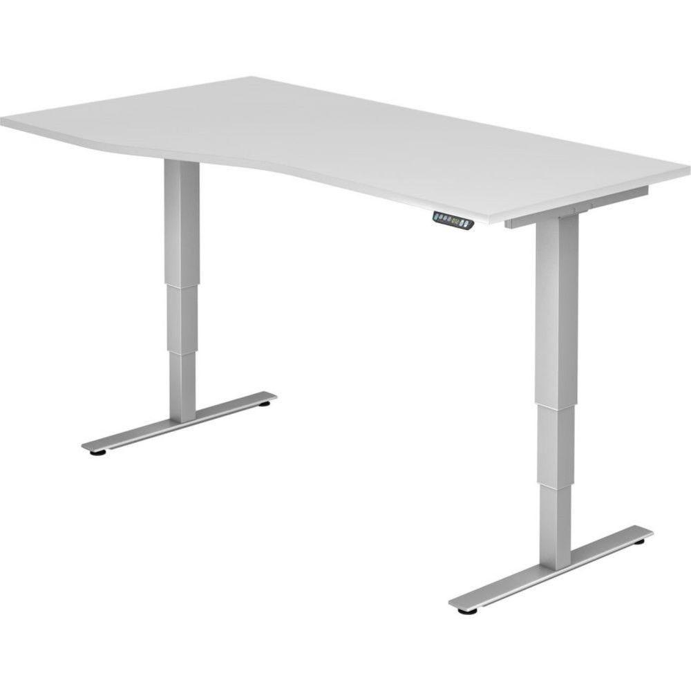 Bureau assis-debout électrique Barbara II / Blanc / Longueur 180 cm avec angle