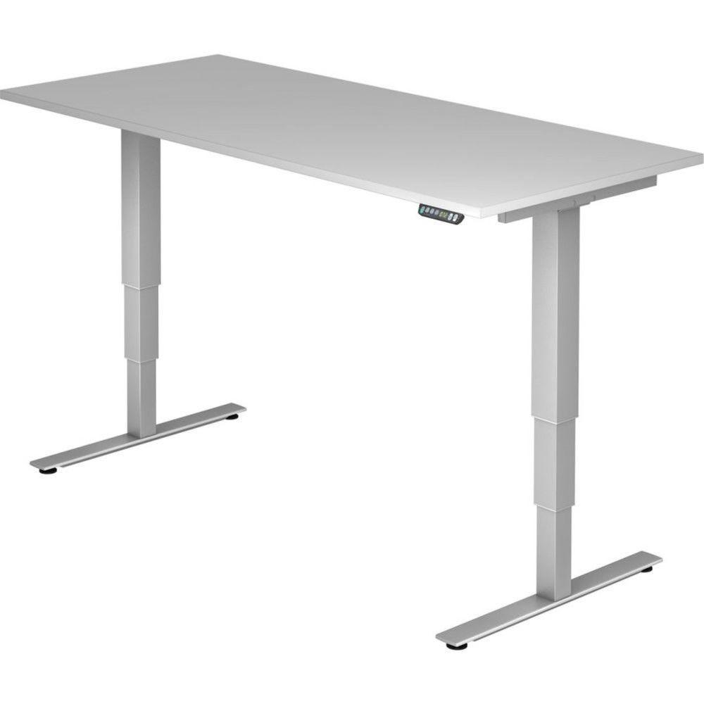 Bureau assis-debout électrique Barbara II / Gris / Longueur 180 cm