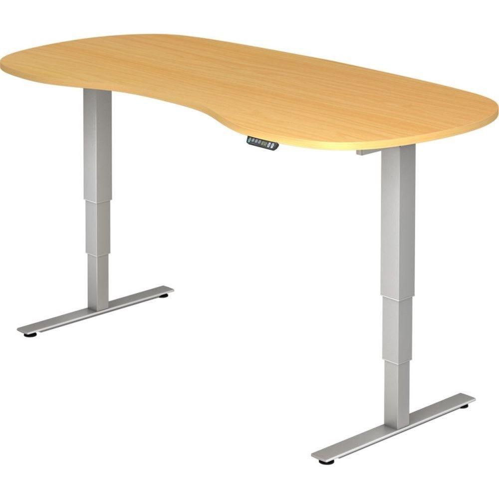 Bureau assis-debout électrique Barbara II / Hêtre / Longueur 200 arrondi
