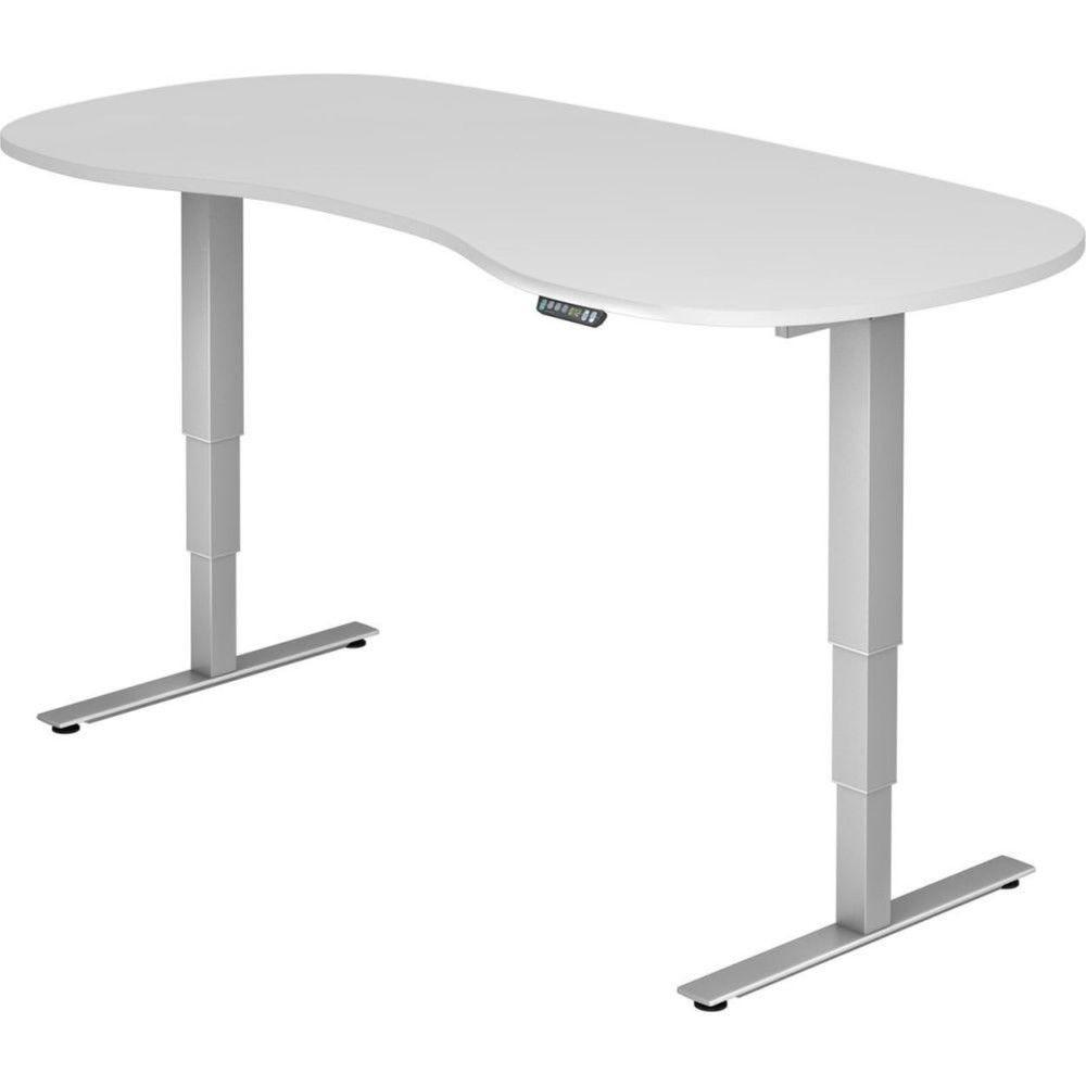 Bureau assis-debout électrique Barbara II / Blanc / Longueur 200 arrondi