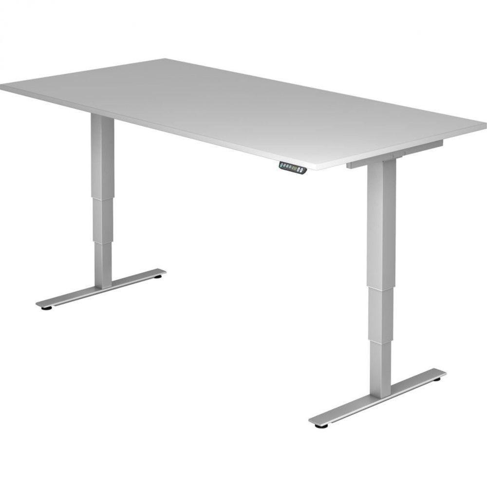 Bureau assis-debout électrique Barbara II / Gris / Longueur 200 cm