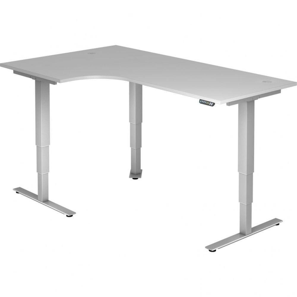 Bureau assis-debout électrique Barbara II / Gris / Longueur 200 avec angle