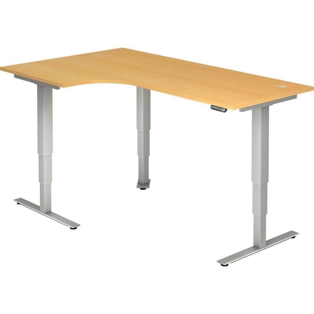 Bureau assis-debout électrique Barbara II / Hêtre / Longueur 200 avec angle