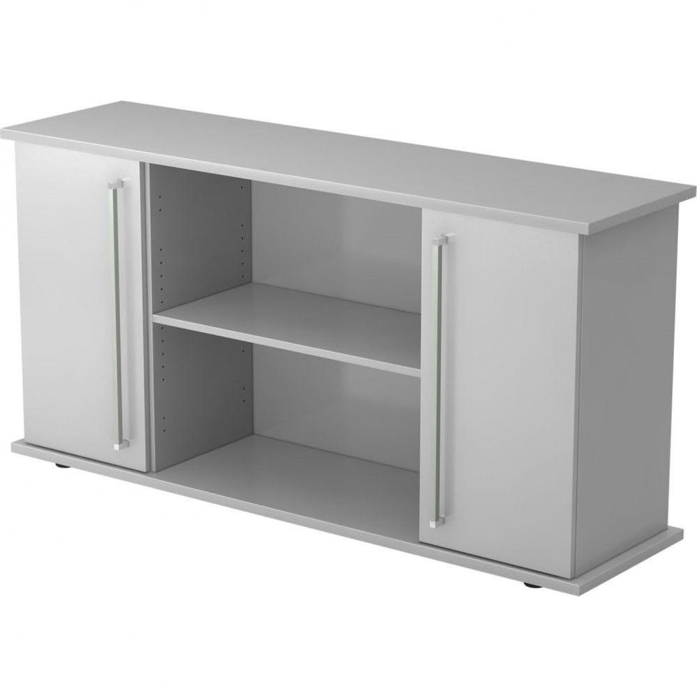 Armoire basse de bureau Lilly II / Gris / Poignée droite en métal