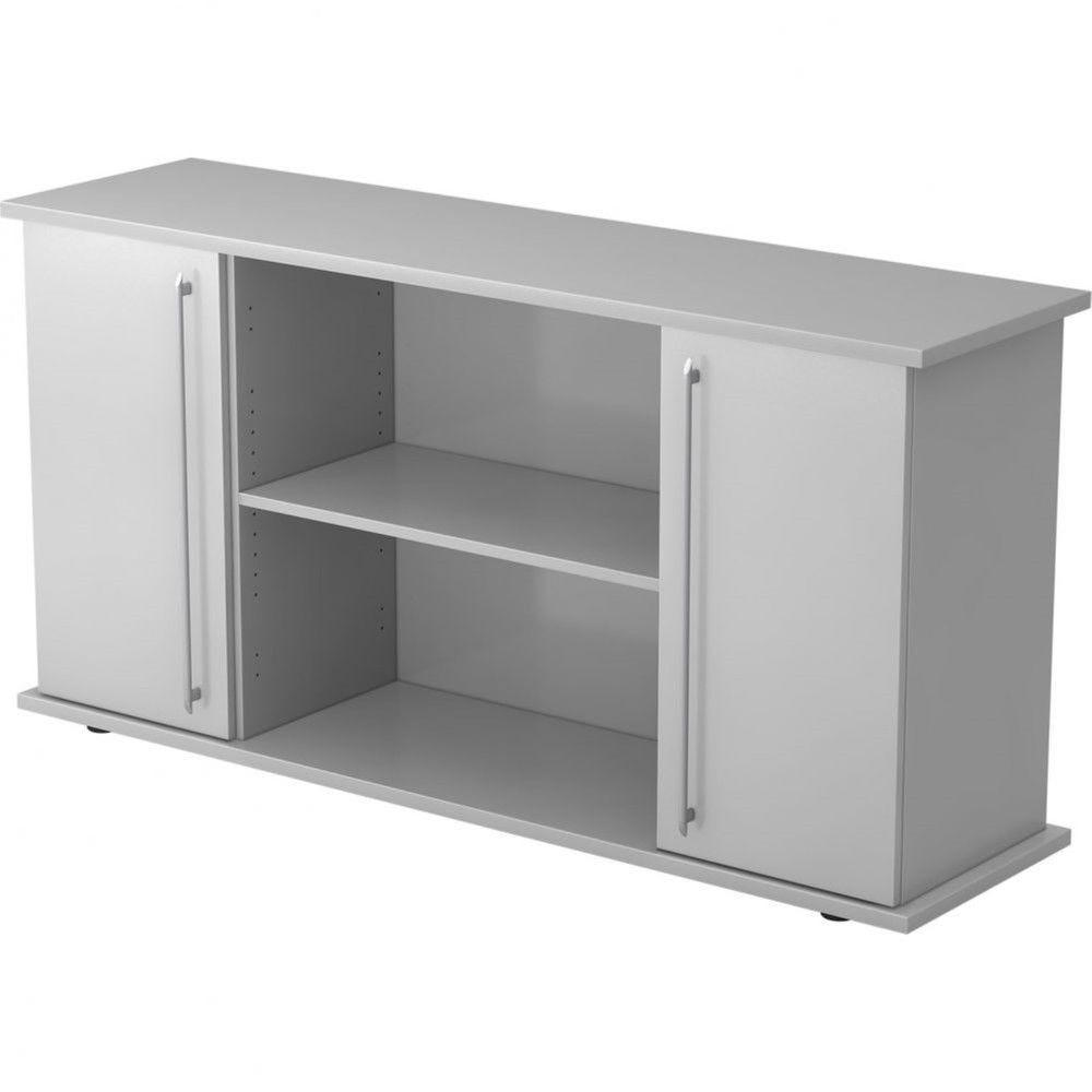 Armoire basse de bureau Lilly II / Gris / Poignée droite en plastique