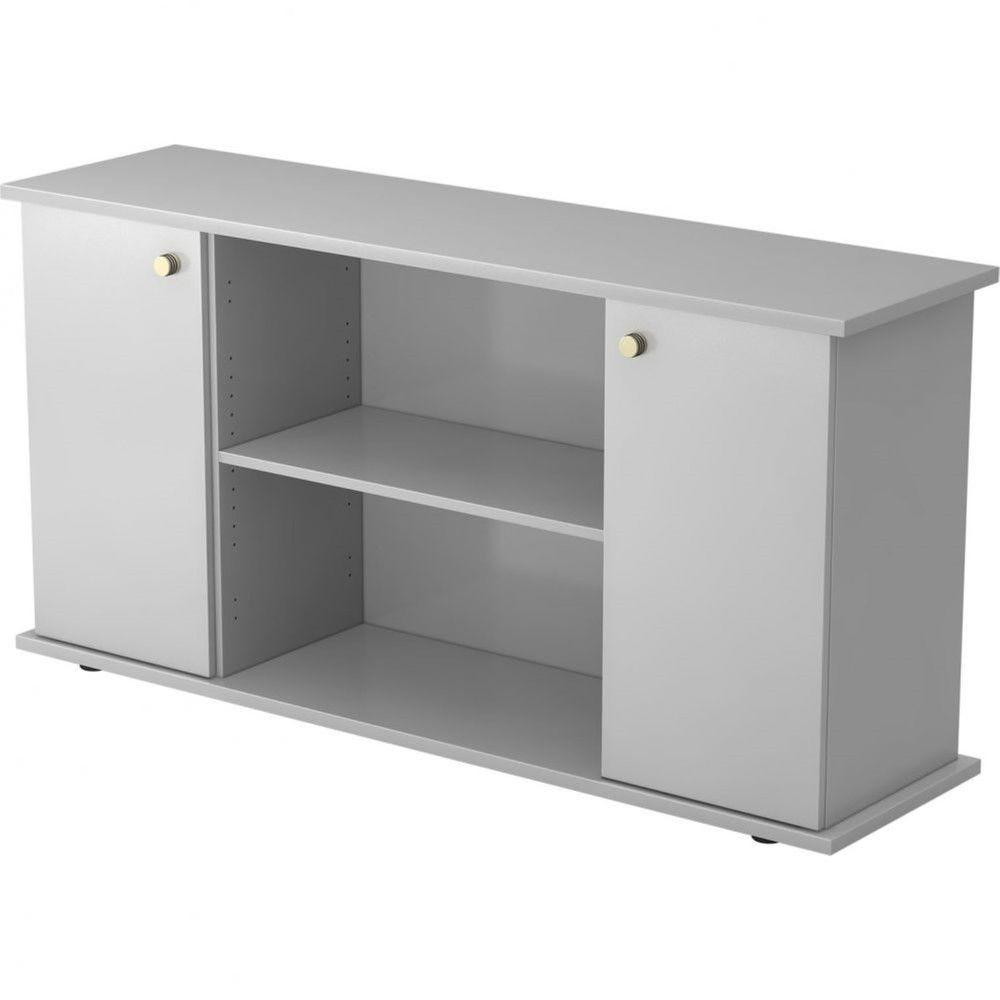 Armoire basse de bureau Lilly II / Gris / Poignée striée en métal