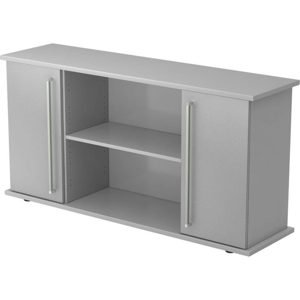Armoire basse de bureau Lilly II / Gris / Argenté / Poignée droite en métal