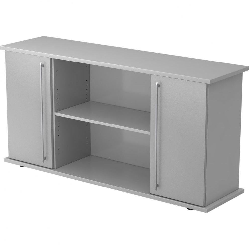 Armoire basse de bureau Lilly II / Gris / Argenté / Poignée droite en plastique