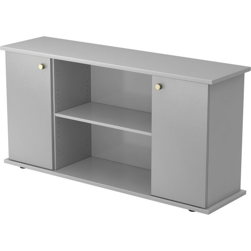 Armoire basse de bureau Lilly II / Gris / Argenté / Poignée striée en métal