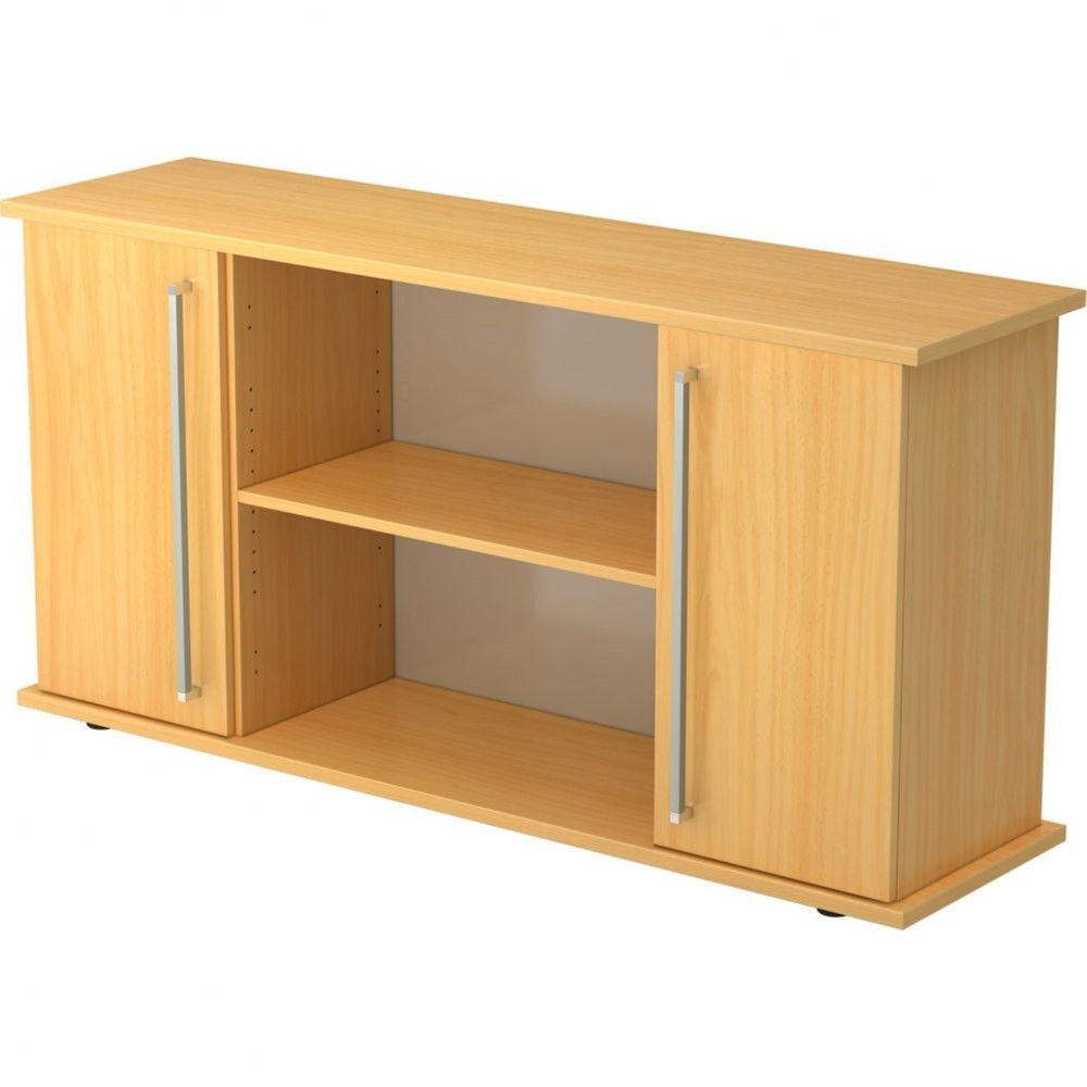 Armoire basse de bureau Lilly II / Hêtre / Poignée droite en métal