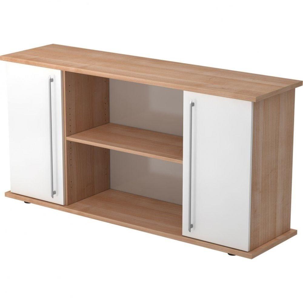 Armoire basse de bureau Lilly II / Noyer / Blanc / Poignée droite en plastique