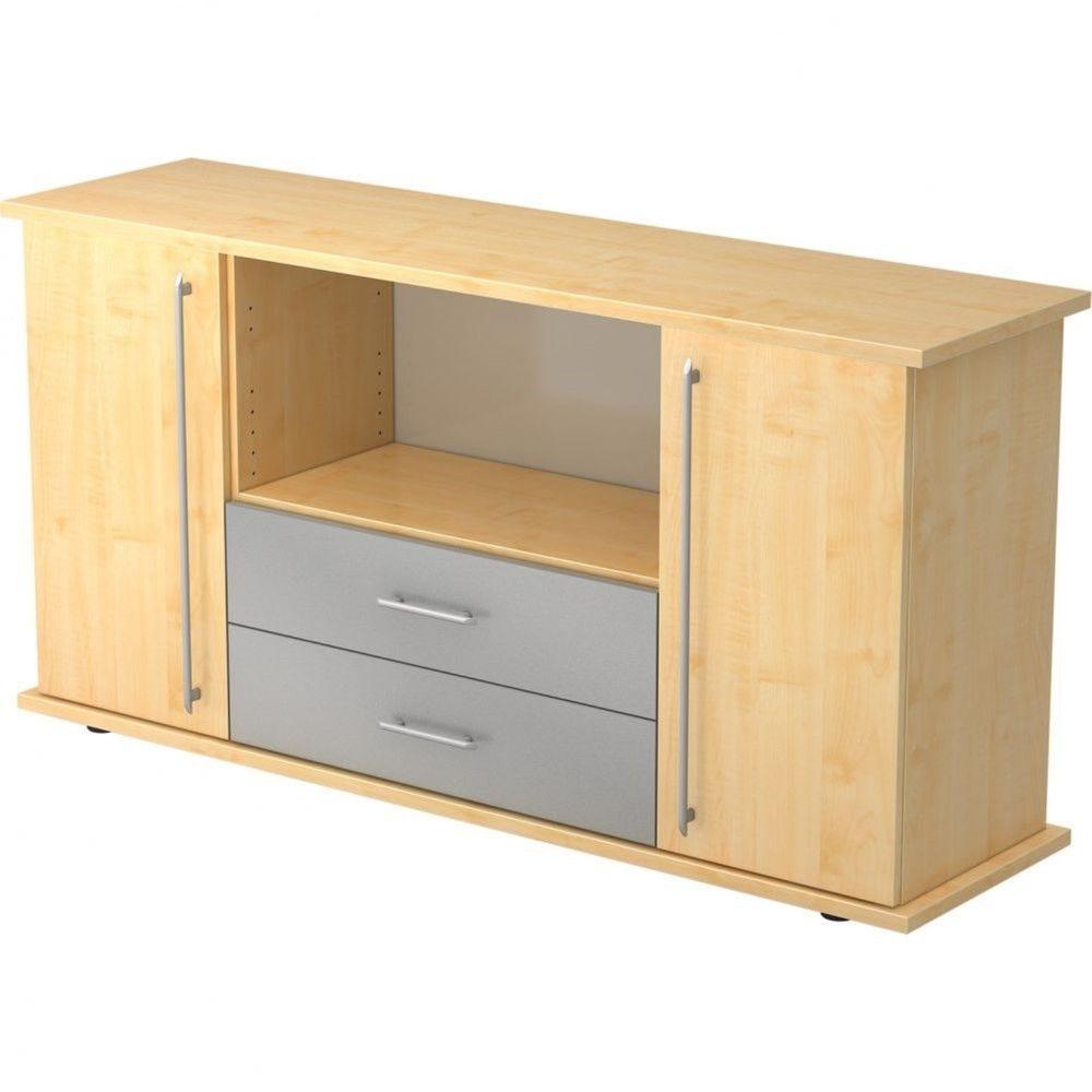 Armoire basse de bureau Lilly III / Erable / Poignée droite en plastique